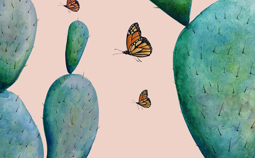 Art Painting of Prickly Pear Cactus plants, pale green and blue, with butterflies flying in and around them, on a peach background.
