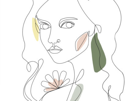 Minimalist line art drawing, black lines on white paper, with pale olive green, pink and yellow pops of color.
