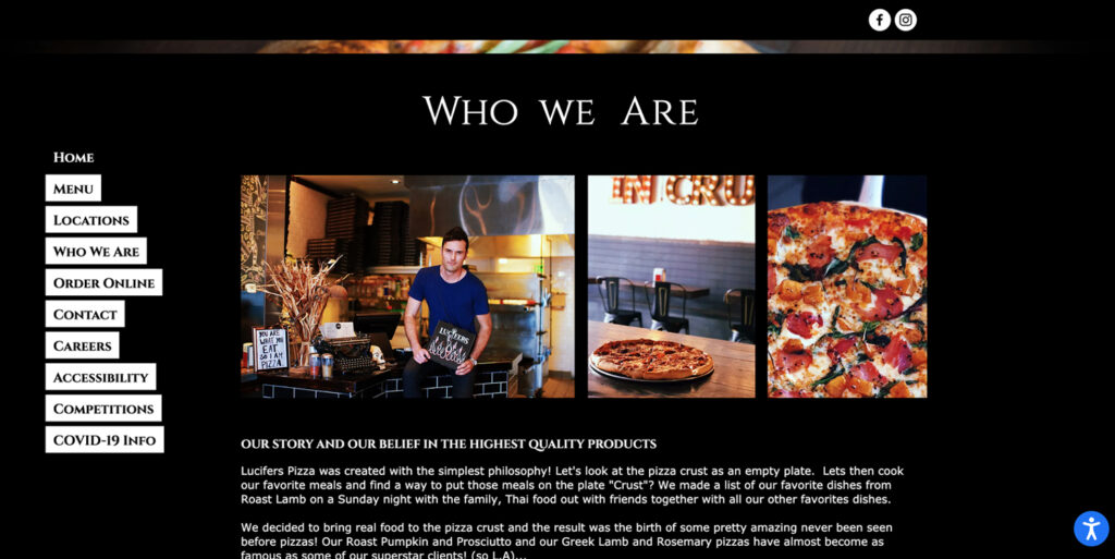 A photo of Lucifers Pizza's website Who We Are page