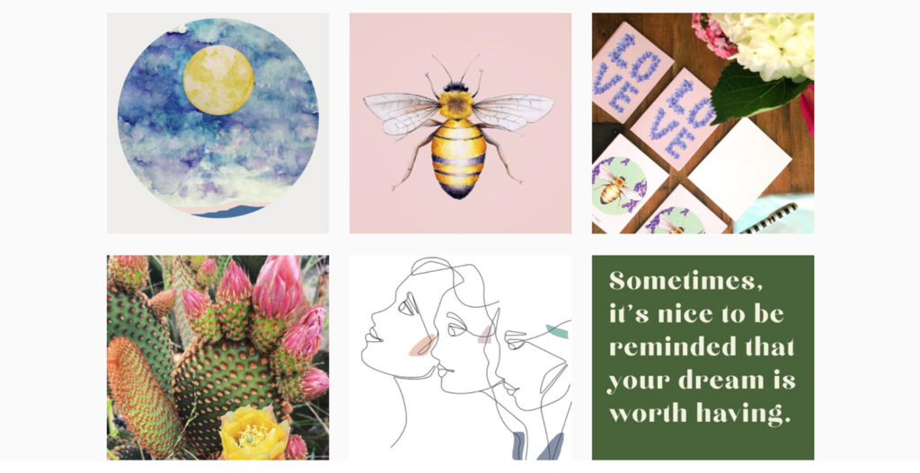 Juniper June's Instagram page with custom illustrations photography of art